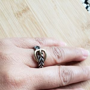 Sterling silver belt two toned braided ring